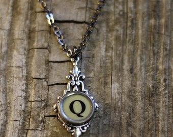 Letter Q  Vintage Typewriter Key  Drop Necklace