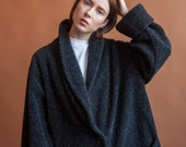 black gray fleece coat / oversized coat / fleece jacket / m / l / xl / 2133o / R5