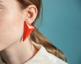 orange triangle wooden earrings / oversized statement earrings / geometric earrings / 1292a