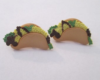 Taco stud earrings - mexican food, Taco Tuesday, unique novelty jewelry, hipster foodie gift,  surgical steal