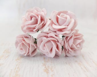 5 pcs - 35mm mulberry paper light pink rose with wire stem - round
