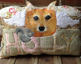 Pet Memorial, Custom Dog Pillow, Shabby Chenille Art Decor, Portrait from Photo, Gift for Fur Baby Mama, Sympathy Pet Loss, Thinking of You