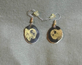 Buffalo Head Gold/Black Earrings-Hand Painted, Hand Made
