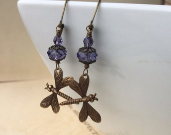 Brass Dragonfly and swarovski crystal earrings