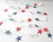 Red, White, and Blue Star Patriotic Garland, Summer, Independence Day, July 4th 8'
