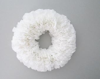 "White Paper Wreath, Coffee Filter Wreath, Rustic Decor, Rustic Wedding, Round 17"""