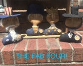 Flash Sale Primitive Dolls, Abraham Lincoln, George Washington, Lady Liberty, and Uncle Sam, Americana Busts
