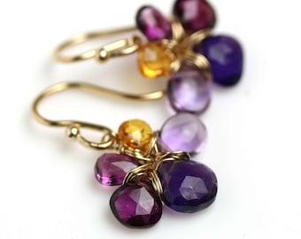 Violets and Honey Flower Earrings. Amethyst February Birthstone .