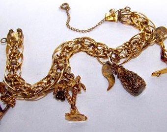 SJK Vintage -- Gold Plated Sterling (Vermeil) Hawaii Themed Charm Bracelet (1950's-60's)