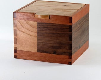 Keepsake Box, Jewelry Box of Recycled Wood