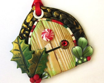 Elf Door Ornament, Christmas Tree Ornament, Holiday Decoration, Polymer Clay Miniature, Holiday Fairy Door
