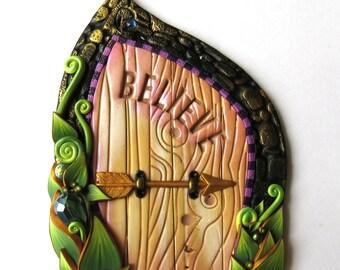 Believe Fairy Door with a Big Gem Miniature Pixie Portal Home and Garden Decor Polymer Clay Door, Tooth Fairy Entrance