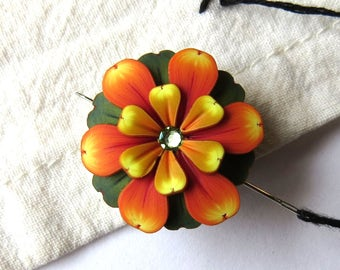 Orange and Yellow Flower Needle Minder, Magnetic Needle Nanny Handcrafted from Claybykim