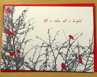 All Is Bright hand made holiday note cards, Christmas, stationary, paper goods, photography, art, red, birds, new year