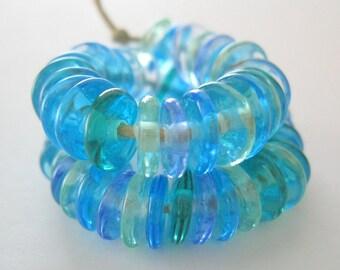 Handmade Lampwork Beads SRA Disk Disc Ocean Mix