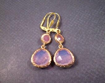 Pink Drop Earrings, Glass Bezel Earrings, Gold Dangle Earrings, FREE Shipping U.S.