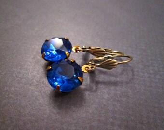 Rhinestone Earrings, Sapphire Blue Glass Stones, Brass Dangle Earrings, FREE Shipping U.S.