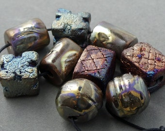 Raku Bead Mix Of Nine