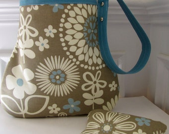 Teal Blue and Cream Handbag / Shoulder Bag with Matching Coin Purse in a Floral Design