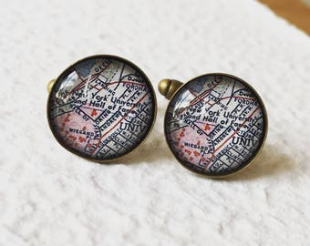 NYU Map Cufflinks New York University - Graduation gift for Graduate or Alumni - Can also be made into a necklace or tie clip
