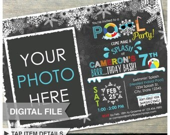 "Winter Pool Birthday Party Chalkboard Invitation Snow Indoor Pool - Blue - Photo - DIGITAL Printable Invite - 5"" x 7"""