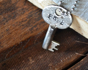 Key of Freedom - Freedom Key - Vintage Key Necklace -  Hand-stamped Key - Leather or Chain Necklace
