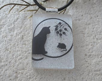 Cat & Mouse Necklace, White Black Necklace, Dichroic Necklace, Dichroic Jewelry, Fused Glass Jewelry, Cat and Mouse Jewelry, 43017p102