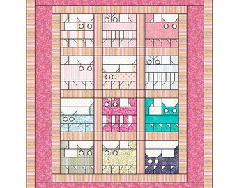Pattern Only: Krazy Katz Crib Quilt 44X54 PDF  Suitable for beginners and beyond