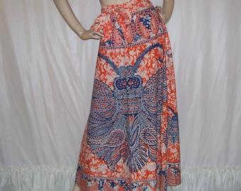 Batik Moth Wrap Skirt Hippie India Boho Cotton Paisley Wrap Adult A Line Maxi Gypsy Butterfly Vintage VTG Blue Orange White Adult Wrap Skirt