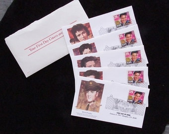 Elvis Presley First Day Issue Postage Stamps January 8 1993 Set of FIVE