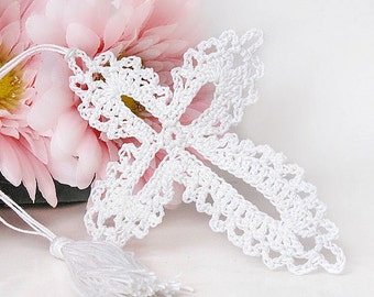 Cottage Chic White Lace Cross Bookmark