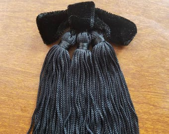 Black Velour Bow With Tassels