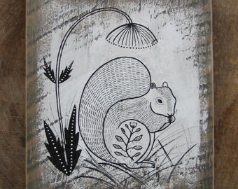 Original Painting of Squirrel on Barn Board