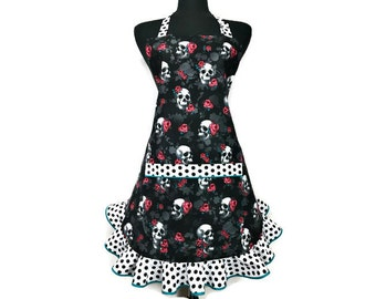 Retro Girls apron with Skulls and Roses ,  Adjustable with pocket and ruffle , Black and Red Goth kitchen decor , Day of the Dead , Mori
