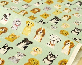Japanese Fabric Kokka Animal World - dogs - green - 50cm