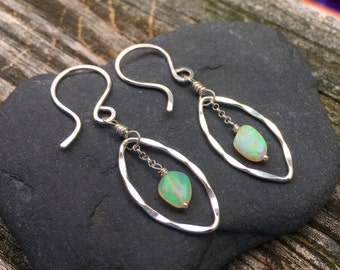 Genuine Opal Gemstone Sterling Silver Dangle Earrings, October Birhstone, Fiery Welo Opal Nuggets, Handmade Jewelry, Bright Fire, Wire Wrap