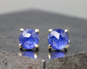 14k Yellow Gold Prong Stud Earrings with Rose Cut Blue Sapphires - Small Natural Gemstone Studs - 6mm Faceted Cabochon Stones -READY TO SHIP