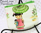 Change Wallet, Coin Purse, Earbud Pouch, Michael Miller China Doll Pink & Green Fabric Coin Pouch, Retro Asian Girls Pouch, Gift Card Pouch