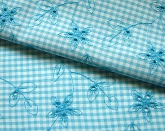 Turquoise Blue Scalloped Eyelet Fabric, 1.66 Yards