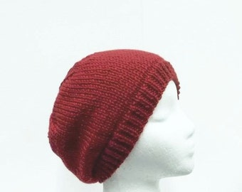 Knitted beanie red   5281