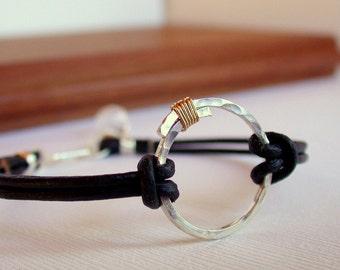 Mixed Metal and Leather Bracelet. Eternity Bracelet. Hammered Sterling Bracelet. Circle Bracelet. Leather Bracelet.