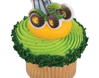 24 John Deere Johnny Tractor Cupcake Rings/Toppers/Favors-NEW Birthday Supplies