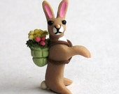 Handmade Miniature Old World Easter Bunny Rabbit with Basket by C. Rohal