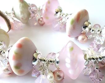 Pink Lampwork Bracelet, Silver Bracelet, Swarovski crystals, Freshwater Pearls, Beaded Jewelry, Beaded Bracelet, Gift for Mom, OOAK