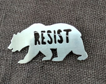 Small Pin, Resist Brooch, California Bear, Handmade Pin, Trump Protest Pin, Nickel White Metal, Resist Pin, California Resist