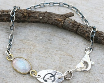 Bracelet,oval cabochon moonstone in brass bezel setting and oxidized sterling silver chain