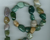 Green Red and Light Brown Fancy Jasper Tumbled Nugget Gemstone Beads 1248