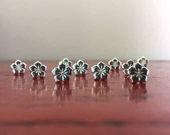 Small Sterling Silver Flower Stud Earrings