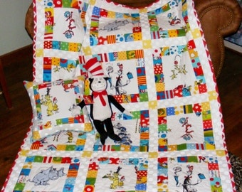 Dr Seuss Cat In the Hat and Friends Fabric Quilt / Pillow Set With Stuffed Animal