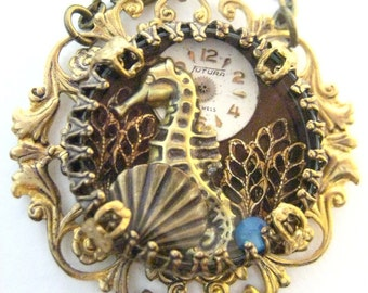 Seahorse Under Glass, Steampunk Filigree Under Glass One of a kind Seahorse creation